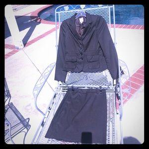 Brown/Black Gingham Halogen Skirt Suit
